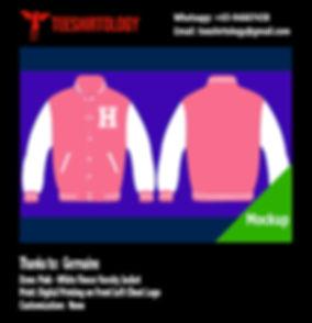 Digital Print of Pink Fleece Varsity Jacket