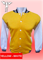 Digital Printing, Silkscreen Printing, Embroidery, Yellow White Baseball Jacket, Yellow White Fleece Varsity Jacket