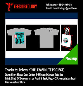 silkscreen printof Himalayan Mutt cotton tshirt and canvas tote bag