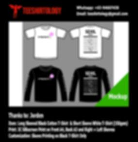 Silkscreen Print of White and Black Long Sleeve Cotton T-Shirt