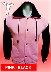 Digital Printing, Silkscreen Printing, Embroidery, Pink Black Hooded Baseball Jacket, Pink Black Fleece Hooded Varsity Jacket