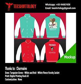 Digital Print A3 of Green and Red Fleece Varsity Jacket