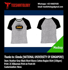 two color silkscreen print of NUS cotton raglan t-shirt