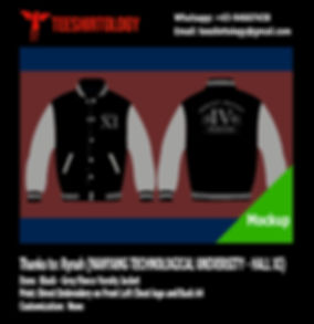NTU Hall XI Black Fleece Varsity Jacket Embroidery