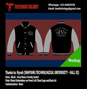 NTU Hall XI Black Fleece Varsity Jacket Embroidery