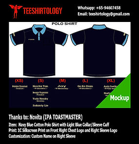 IPA Toastmasters Navy Blue Cotton Polo Shirt Screenprint with Custom Name