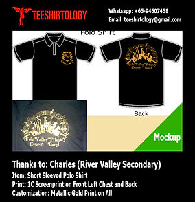 River Valley gold screenprint of black band polo shirt