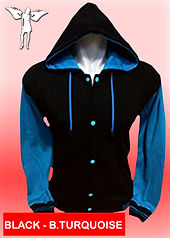 Digital Printing, Silkscreen Printing, Embroidery, Black Blue Turquoise Hooded Baseball Jacket, Black Blue Turquoise Fleece Hooded Varsity Jacket