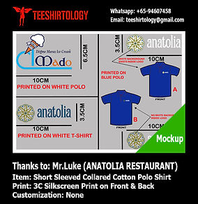 three color silkscreen printing of cotton polo shirt