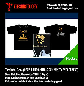People and Animals Community Engagement Black Cotton T-Shirt with Gold and Silver Silkscreen Printing