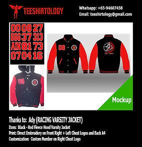 Racing Black Fleece Varsity Jacket with Embroidery Custom Number