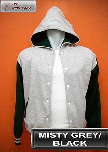 Misty Grey/Black Hooded Varsity Jacket, baseball jacket, college jacket