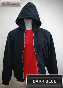 Dark Blue Hooded Sweater, sweater hoodie biru tua half zipper