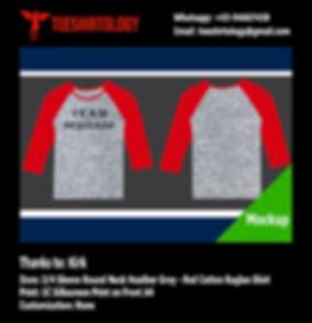 Silkscreen Printing of Heather Grey Cotton 3/4 Sleeve Raglan T-Shirt