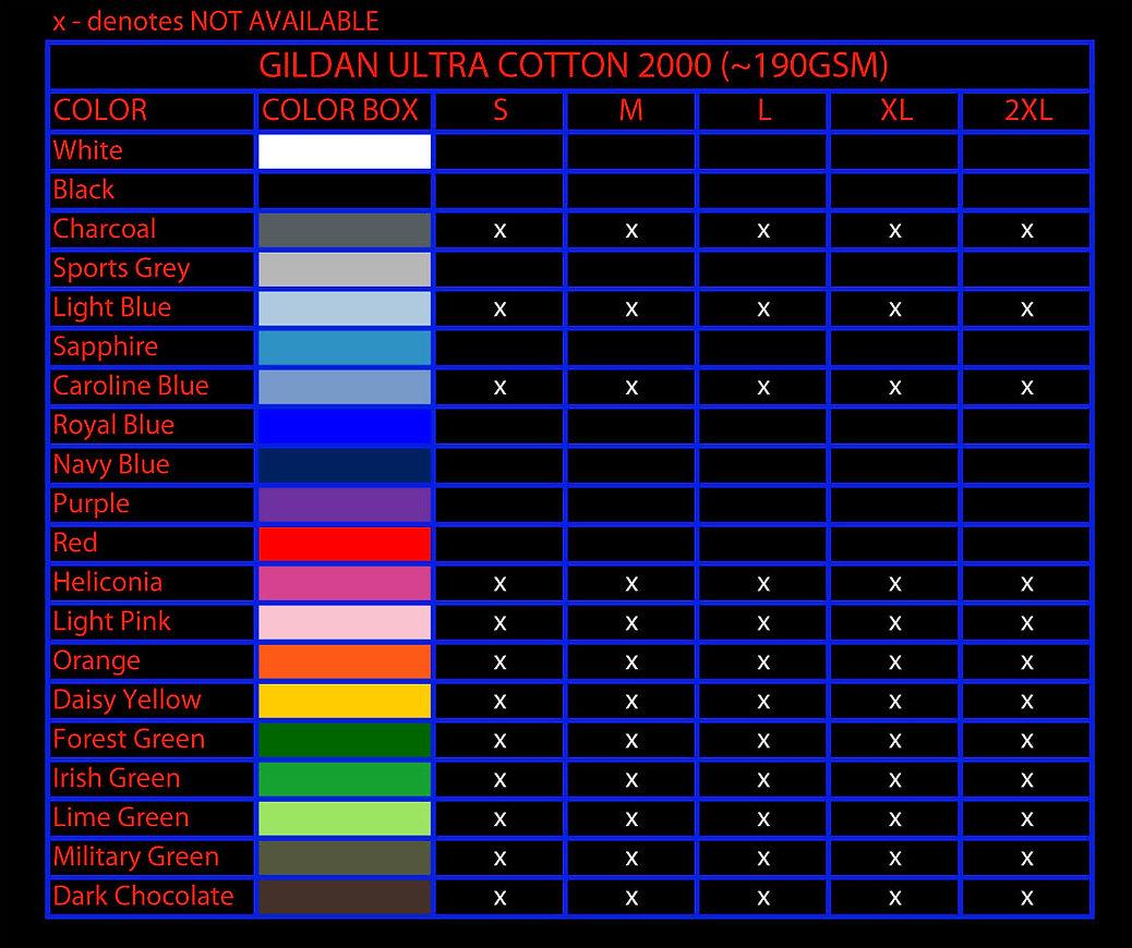 digital print, DTG, direct to garment printing, Gildan T-Shirt, Gildan 2000, Gildan 76000, Gildan 63000