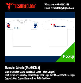 Transocean White Cotton T-Shirt Screenprinting with Custom Name