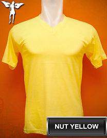 Nut Yellow v-neck t-shirt, kaos kuning kenari