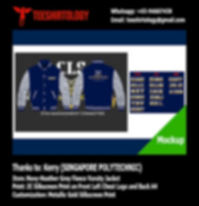 Singapore Polytechnic Management Committee Fleece Navy Blue Varsity Jacket Gold Silkscreen Printing