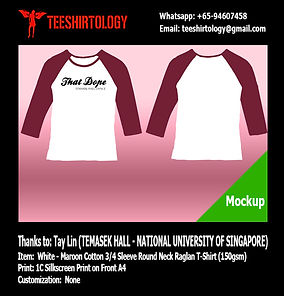NUS Temasek Hall Dance Cotton Raglan Shirt Screenprinting