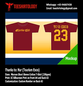 Tourism Club Exco maroon cotton tshirt silkscreen print with custom number