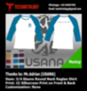 one color screeprint of USANA long sleeve raglan shirt