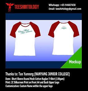 NYJC Nanyang JC Class Cotton Raglan Shirt Silkscreen Printing