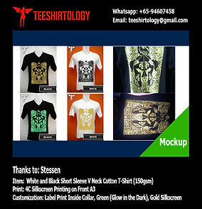Normal, Gold and Glow in the Dark Silkcreen Print of Cotton T-Shirts