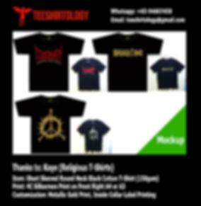 Normal and Gold Silkscreen Printing of Black Cotton Church T-Shirts