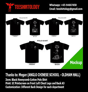 ACS Anglo Chinese School MMC Black Honeycomb Polo Shirt Screenprinting