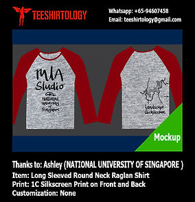 one color print of long sleeve raglan tshirt for NUS Architecture