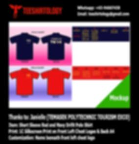 Temasek Polytechnic Gold Silkscreen Print of Navy and Red Drifit Polo Shirt with Custom Name