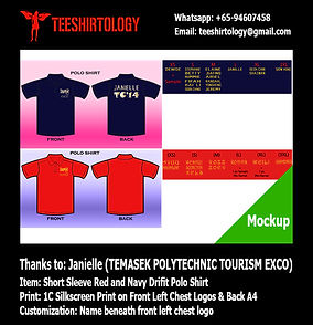Temasek Polytechnic Gold Silkscreen Print of Navy and Red Drifit Polo Shirt with Custom Name