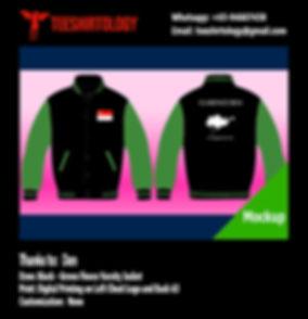 Digital Print of Black Fleece Varsity Jacket with Green Sleeve