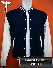 Dark Blue/White Varsity Jacket, baseball jacket, college jacket