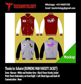 Running Man Maroon Fleece Varsity Jacket Embroidery