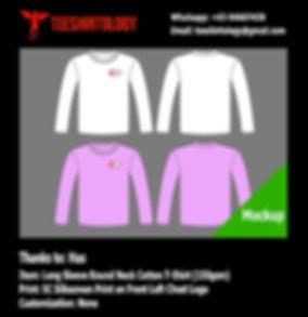 Screenprint of White and Purple Long Sleeve Cotton T-Shirts