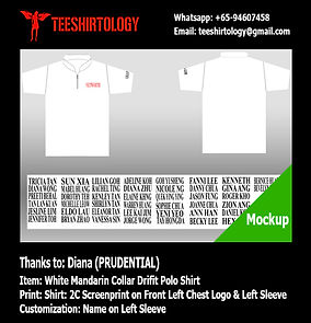 two color printscreen of Prudential Mandarin Collar Drifit Polo Shirt with Custom Name