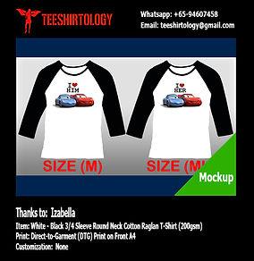 Couple Raglan Cotton T-Shirt DTG A4 Print