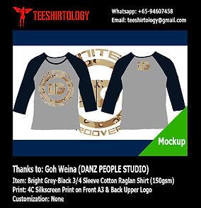 four color silkscreen print of Danz People Studio Long Sleeve Raglan Shirt