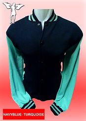 Digital Printing, Silkscreen Printing, Embroidery, Navy Blue Turquoise Baseball Jacket, Navy Blue Misty Grey Fleece Varsity Jacket