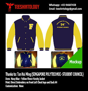 Singapore Polytechnic Student Council Navy Blue Varsity Jacket Embroidery