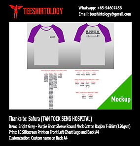 Tan Tock Seng Hospital Grey Cotton Raglan T-Shirt Screenprinting with Custom Name