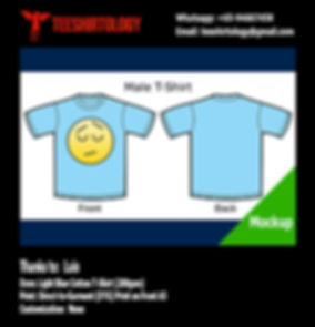 DTG A3 Print of Emoji Light Blue Cotton T-Shirt