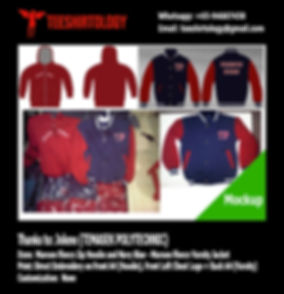 Temasek Polytechnic Maroon Fleece Zip Hoodie and Navy Blue Fleece Varsity Jacket Embroidery