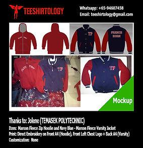 Temasek Polytechnic Maroon Fleece Zip Hoodie and Navy Blue Fleece Varsity Jacket Embroidery