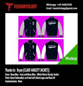 Class Navy Blue Fleece Varsity Jacket Embroidery