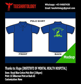 IMH Institute of Mental Health Blue Cotton Polo Shirt Silkscreen Printing
