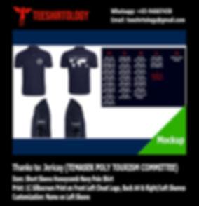 Temasek Polytechnic Exco Navy Honeycomb Cotton Polo Shirt Silkscreen Printing with Custom Name