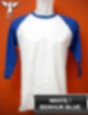 Raglan White/Benhur Blue T-Shirt, kaos raglan putih/biru benhur