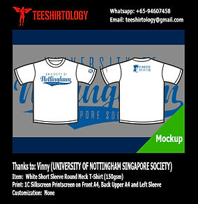 University of Nottingham Singapore White Cotton Tee Screenprinting